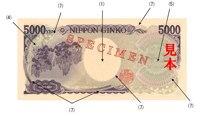 image of the back of a 5,000 yen note