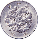 image of the front of a 100 yen cupro-nickel coin